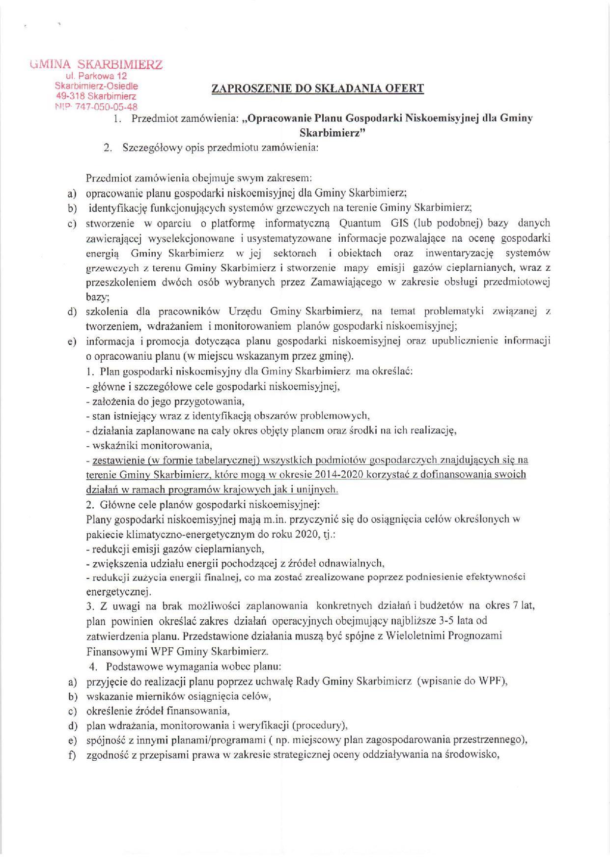 Opracowanie Planu Gospodarki Niskoemisyjnej dla Gminy Skarbimierz